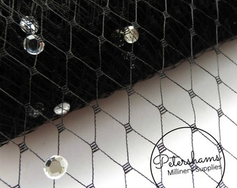 Diamante / Rhinestone Veiling for Wedding birdcage veils & fascinator millinery 1m (1.09 yards) - Black