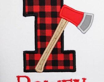 Lumberjack Birthday Shirt or Bodysuit, First Birthday Bodysuit, Axe Birthday Shirt, Buffalo Plaid One Shirt or Bodysuit, Lumberjack Party