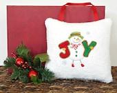 Snowman Door Hanger Pillow Christmas Joy Red Lime Green White Mustard Decorative Repurposed