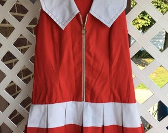 Ladies 1960s red and white mod scooter dress with hidden shorts romper