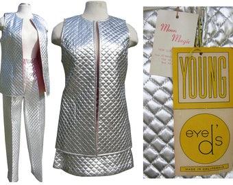 "Moon Magic! NOS Vintage 60s Space Age Silver Vest Skirt Pants Set w/ Orig. Tags! 30"" waist Metallic Shiny Quilted 1960s Space Race Alien Mod"