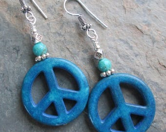 Peace Gemstone Earrings - Turquoise & Magnesite Peace Symbols - Bohemian Style Jewelry