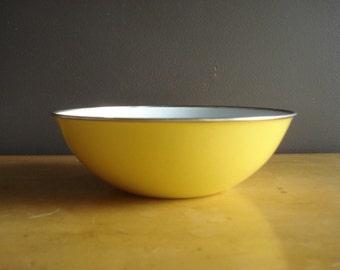 Bright Spot of Yellow - Vintage Enamel Bowl