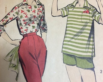 Advance 8276 ladies separates shirt and pants or shorts size 14  bust 34