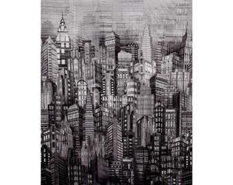 Hoffman - Winter Skylines Citiscape - Steel/Silver - Digitally Printed N4234-296S