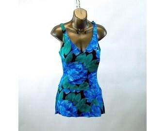 1970s swimsuit Roxanne skirt swimsuit bathing suit blue floral one piece tank 36 bust Size M