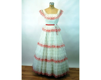 1960s formal dress prom dress red white cupcake frilly ruffled dress Nadine Size S