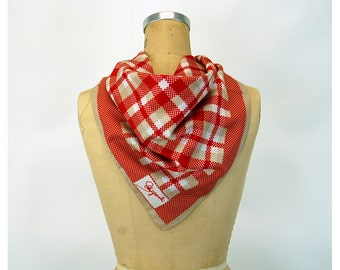 Schiaparelli scarf red tan plaid checked 1970s square scarf