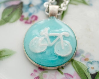 Artisan Bicycle Relief Pendant - Enjoy the Ride - Bicycle Necklace, Cyclist, Bike Necklace, Triathelete, Turquoise, Clay Pendant