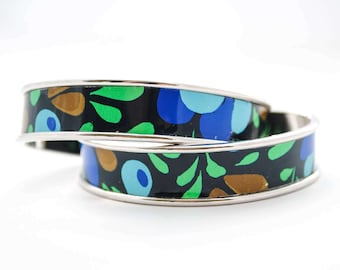 Coffee Tin Cuff Bracelet - Vintage Tin Jewelry - Upcycled Jewelry, Repurposed, Stacking Bracelet, Coffee Lover, Blue, Turquoise, Green