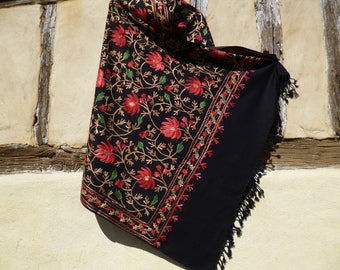 "Black Flower Embroidered Pashmina. Nice shawl/stole. Pure wool 84 x 40"". Kashmir."