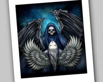 Death and Beauty, Light and Dark Angels, Gothic Surrealism Horror and Love Illustration, Art Print, Sale