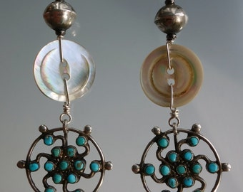 Zuni Whirling Turquoise Mother of Pearl Sterling Earrings