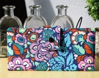 Wallet clutch handmade vegan floral