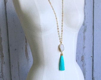 Popular Druzy Tassel Necklace, Layering Tassel Necklace, Rosary Chain Necklace, Druzy Tassel Necklace, Boho Necklace, Teal Tassel Necklace