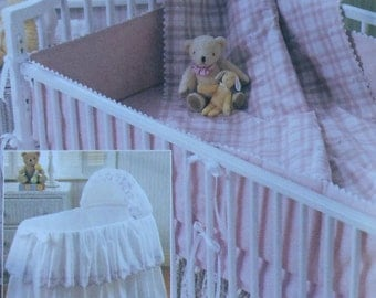 Bassinette Cover Sewing Pattern UNCUT McCalls 3991 bassinet comforter bumper dust ruffle nursery set