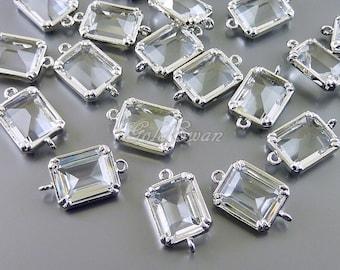 2 clear crystal color rectangle glass connectors, bracelet charms, necklace pendants 5035R-CL