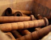 SaleToday 10 Industrial Era Vintage Wooden Spools - Set of 10 Bobbins for Home and Studio Decor - Organize Lace Trim