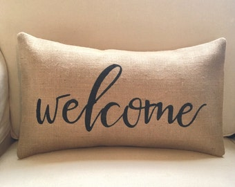 Welcome burlap pillow hessian cushion cover - black