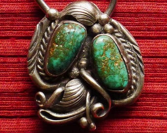 Navajo  Sterling Silver Turquoise Foliate Key Holder