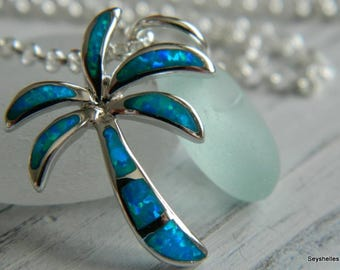 Sterling Silver and Lab Created Fire Opal Palm Tree Pendant with Frosty Soft Blue Sea Glass
