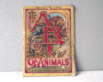 1880s Linen Book ABC of Animals McLoughlin Bros New York - Victorian Picture Book for Little Children