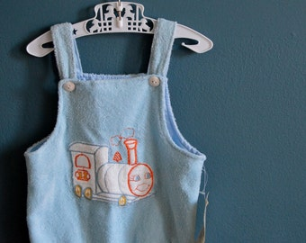Vintage Carter's Terry Cloth Romper with Train Applique NOS - Size 18 Months