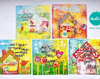NEW 1 set (5) of whymsical post cards mixed media style