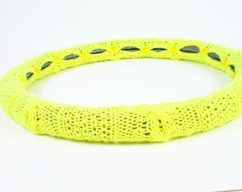 SALE! Easy Care Steering Wheel Cover (NEON Yellow) with Safety Rubber Backing, Machine Washable