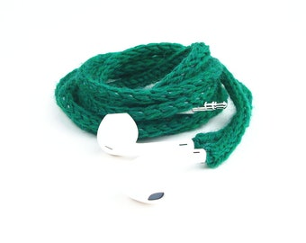 Tangle Free Knit Apple Earpods in Emerald
