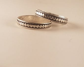 Flattened Bali Stacking Ring in Sterling Silver, Made to Size