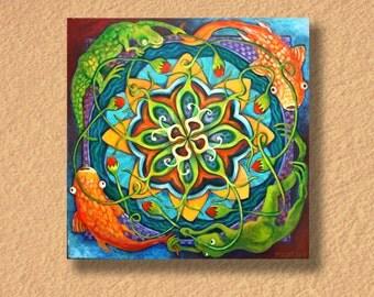 Fine Art - Mandala - Frogs Koi Lizard Flowers - Acrylic on Canvas