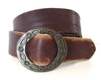 Vintage Shag Weathered Leather Western Belt
