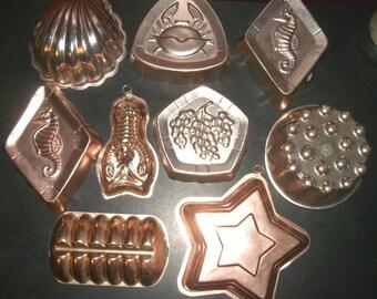 Vintage Lot of 9 Coppery Pink Aluminum Molds Jello Bread Decor