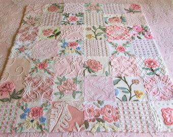 "Heirloom Quality - ""Butterfly Garden"" -  Handmade Vintage Chenille Baby, Toddler or Lap Quilt - Custom Order"