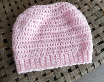The Sister Rose Messy Bun Beanie Hat. Light Pink crocheted handmade beanie cap ponytail hole Made to order / toddler, teen, & adult sizes