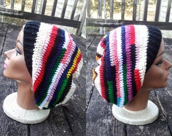 Multi color slouch beanie hat