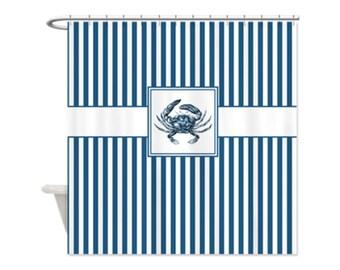 BLUE CRAB Shower Curtain - Custom Shower Curtain, Beach, Ocean