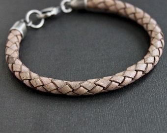 Mens Leather Bracelet, Natural Gray Braid Bracelet, Sterling Silver