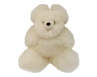 Alpaca Real Fur Teddy Bear - White