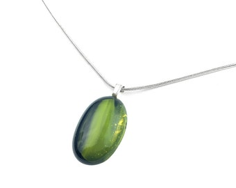 Necklace, Pendant, Lime Green & Black Art Glass