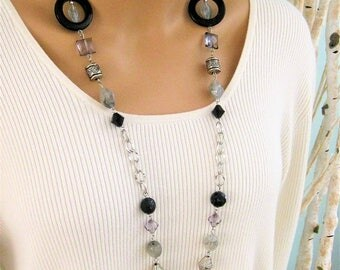 Long Black and Grey Beaded Necklace, Black Beaded Necklace, Grey Beaded Necklaces, Long Beaded Necklaces, Long Beaded Necklace, Beaded, N900