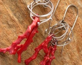 RESERVED FOR PAM Red coral branches in fine silver rings earrings Artisan jewelry