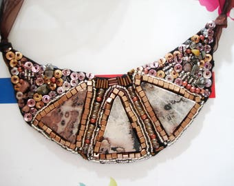Coffee Beaded bib necklace, Brown Statement necklace, bead embroidery bib, beadwork necklace