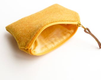 HARRIS TWEED coin purse in citrus yellow, change purse, yellow zipped pouch, handmade in Scotland