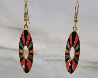 Vintage Mod Cloisonne Earrings. Black Blue Pink Gold Dangling Cloisonne Enamel Earrings.