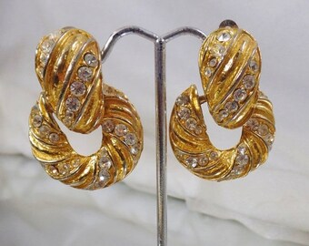 ON SALE Vintage Rhinestone Earrings. Bold Gold Plated. Showstopper.  Chunky Rhinestones Gold Earrings.  Doorknocker Earrings.