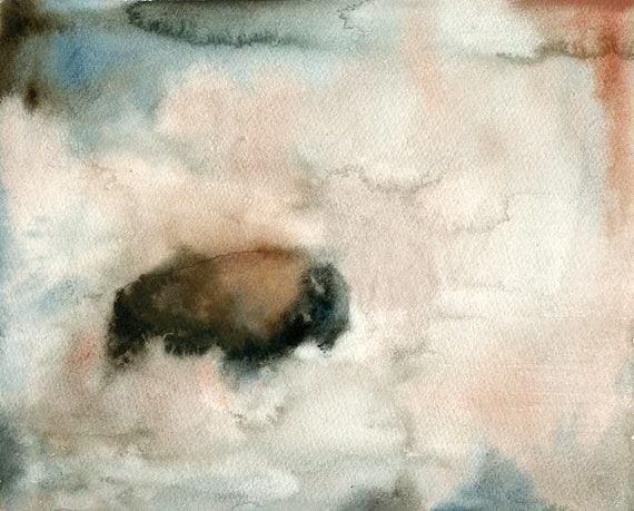 Bison Original watercolor painting 8x10inch