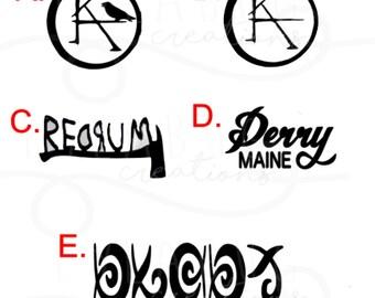 CHOOSE 1 Stephen King vinyl decal, sticker, Temporary or Permanent, black, The Dark Tower, Ka, Derry Maine, Redrum, Unfound