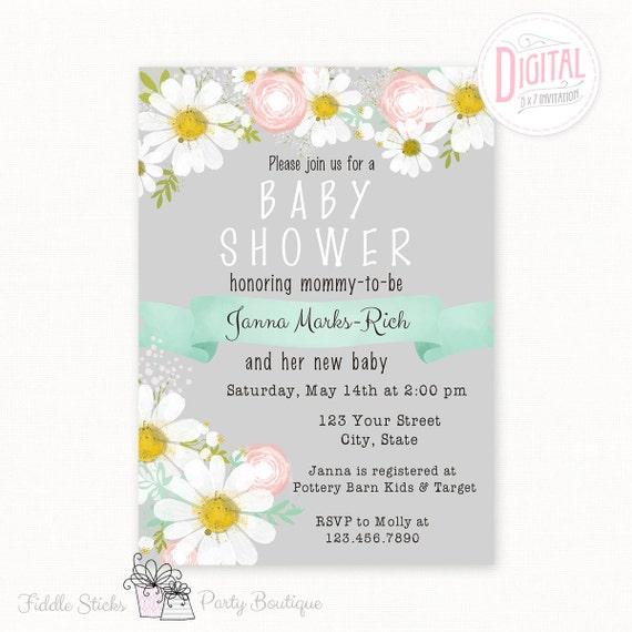 Printable Daisy Invitation- Grey, 5 X 7, Baby Shower